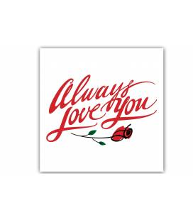 Tableau romantique Always Love you rose rouge 50x50 cm AMOUR