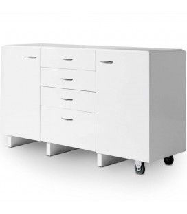 Commode extensible blanche 4 tiroirs 2 portes Salsa