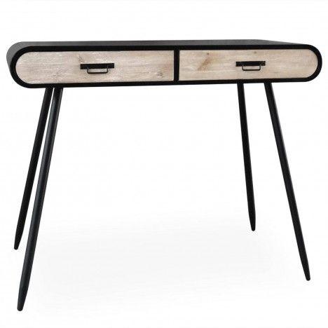 Console bureau bois clair et métal noir industriel Léo -