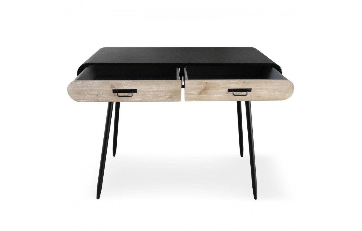 Console bureau bois clair et métal noir industriel léo