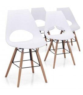 Ensemble de 4 chaises blanches bois et métal style scandinave