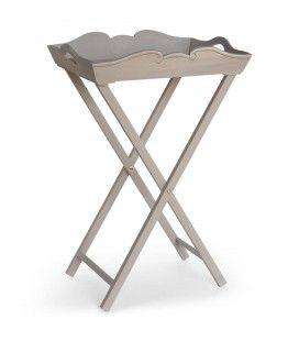Guéridon meuble d'appoint en bois beige Oly