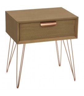 Chevet en bois et métal rosé avec tiroir Janice