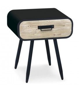 Chevet métal noir et tiroir bois clair Léo