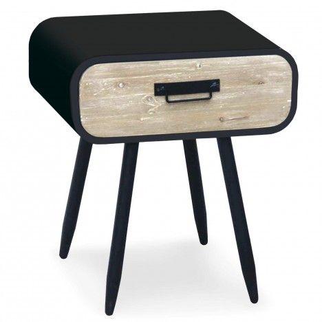 Chevet métal noir et tiroir bois clair Léo -