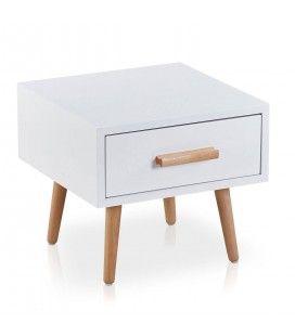 Chevet bois et blanc avec tiroir style nordique Dume