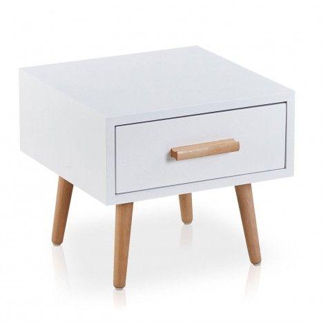 Chevet bois et blanc avec tiroir style nordique Dume -