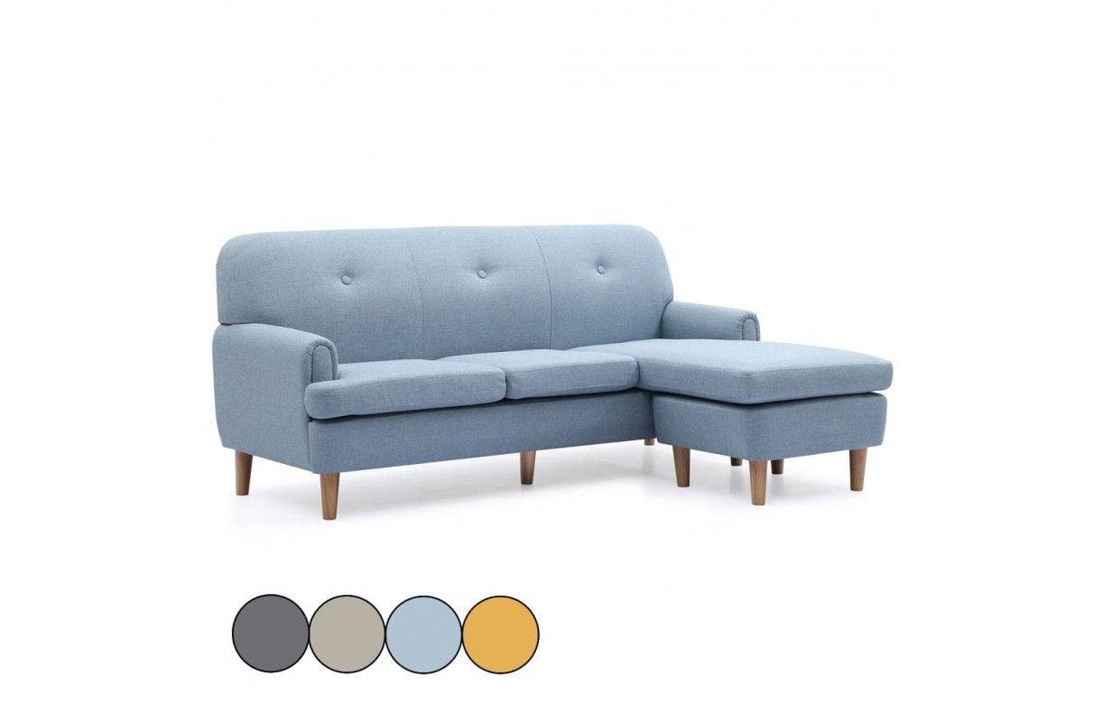 D Angle R Versible En Tissu Style Scandinave Leno # Canape D'Angle Style Scandinave Bleu