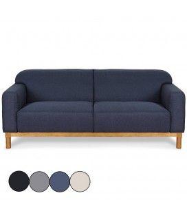 Canapé en bois et tissu 3 places Amy -