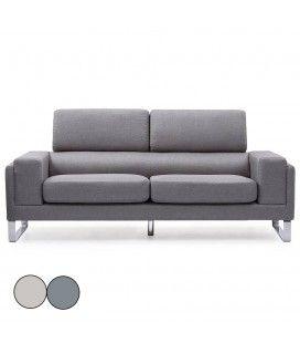 Canapé moderne 3 places en tissu avec pieds métal Bistan -