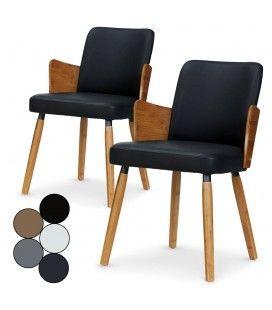 Lot de 2 chaises style scandinave bois et simili cuir Phily -