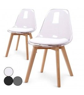 Chaise scandinave en bois et assise plexiglas - Lot de 2