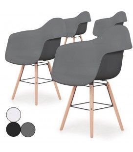 Lot de 4 chaises scandinaves Ralf Gris -