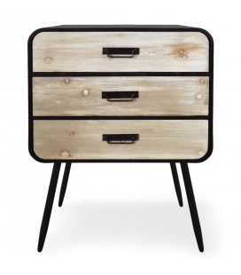 Petite commode métal noir et bois clair style industriel Léo -