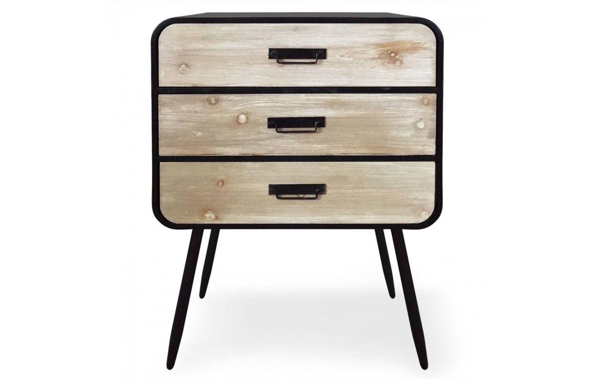 Commode Chambre Style Industriel petite commode métal noir et bois clair style industriel léo