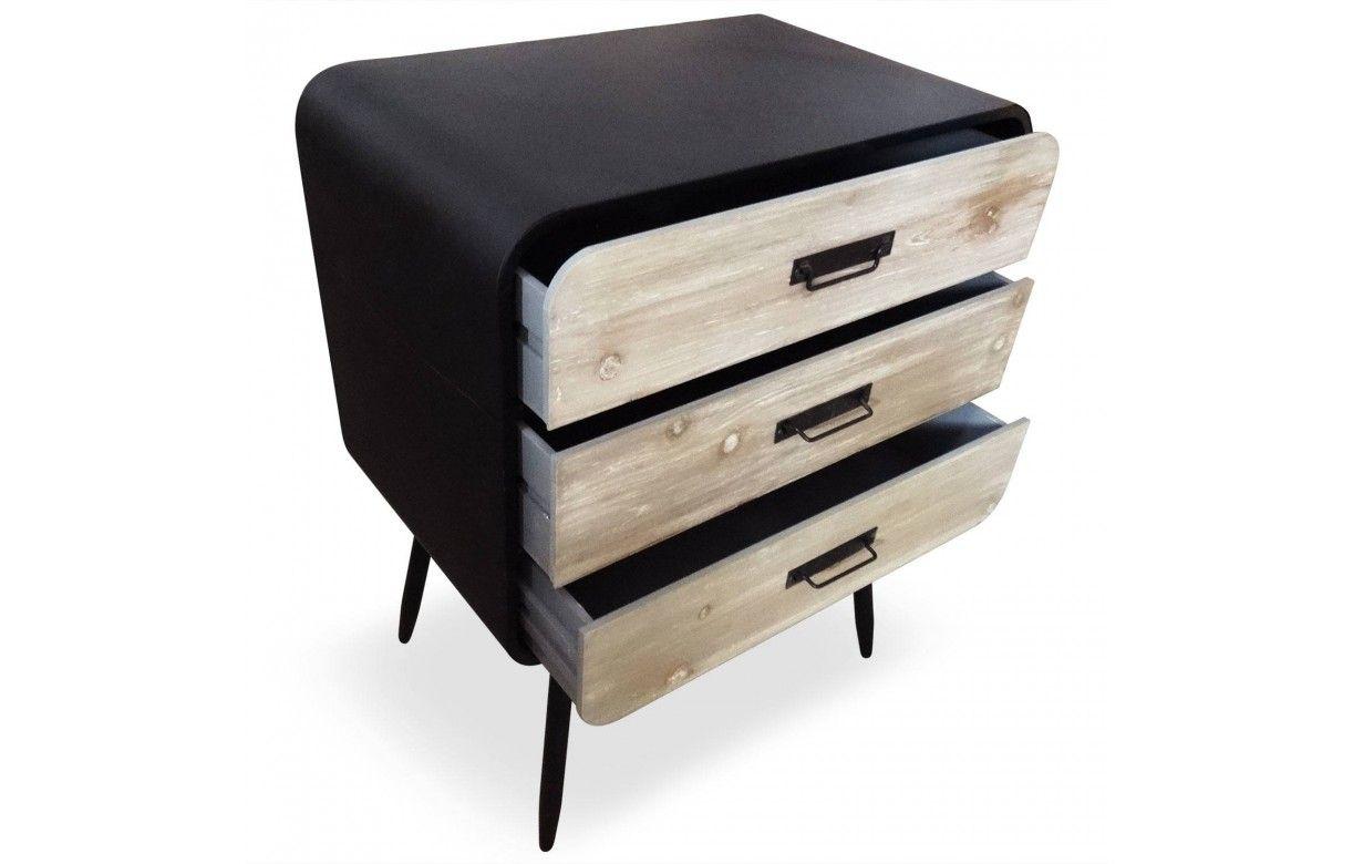 petite commode m tal noir et bois clair style industriel l o. Black Bedroom Furniture Sets. Home Design Ideas