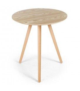 Petit table ronde en bois clair chêne Ezra