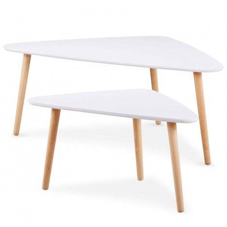 Lot de 2 tables basses gigognes triangulaires blanc et bois -