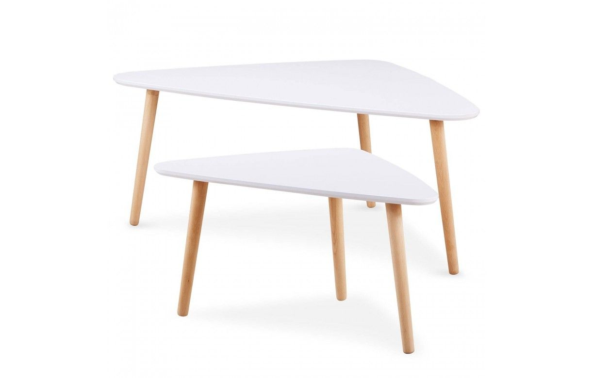 Lot de 2 tables basses gigognes triangulaires blanc et bois for Table basse scandinave lot de 2