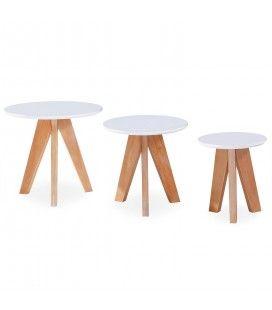 3 petites tables d'appoint bois clair et blanc