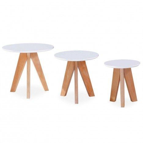 3 petites tables d'appoint bois clair et blanc -