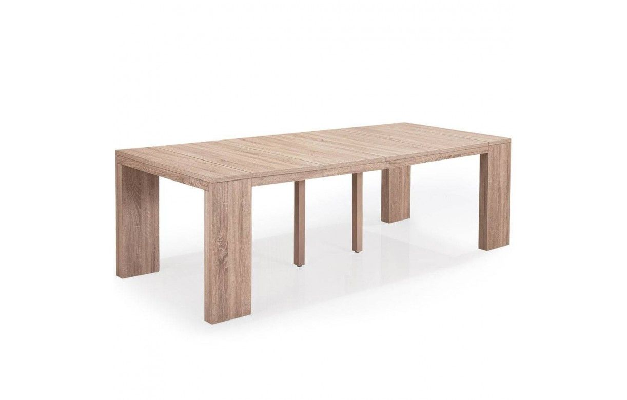 Table console extensible rallonges en bois chene clair - Table a rallonge console ...