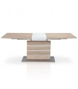 Table à rallonge bois clair et blanc Billy