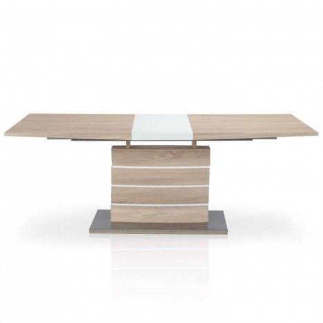 Table à rallonge bois clair et blanc Billy -