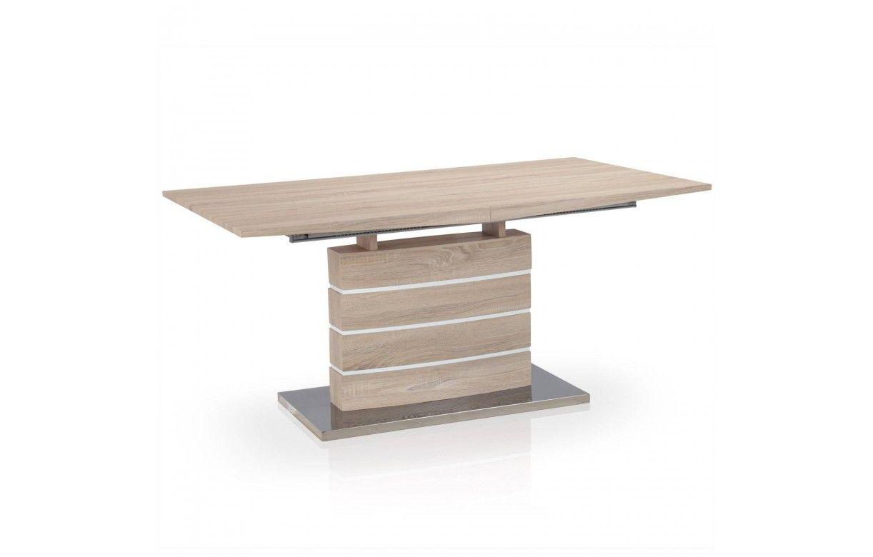 Table rallonge bois clair et blanc billy decome store for Salle de bain bois clair et blanc