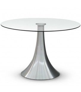 Table ronde en verre 10mm avec pied acier inox -