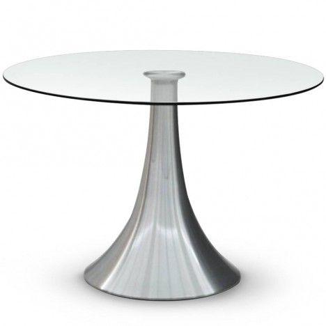 table ronde en verre 10mm avec pied acier inox decome store. Black Bedroom Furniture Sets. Home Design Ideas