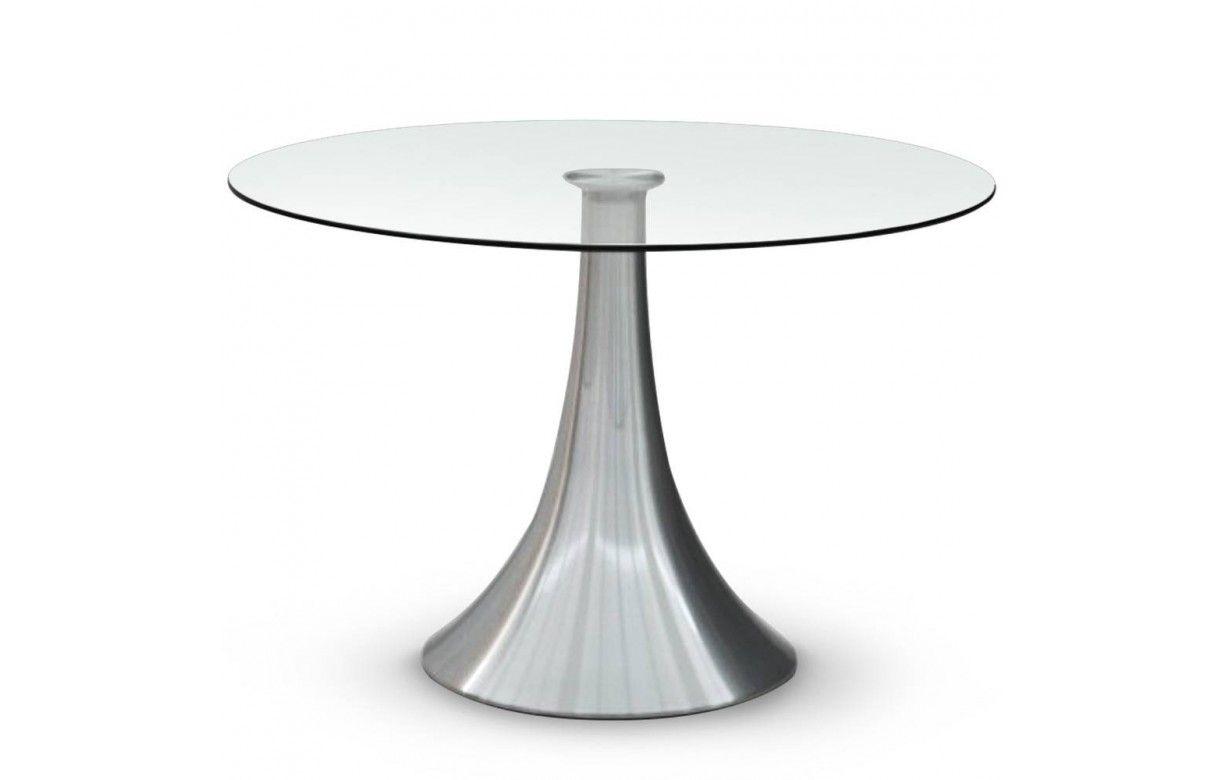 Table ronde en verre 10mm avec pied acier inox - Decome Store