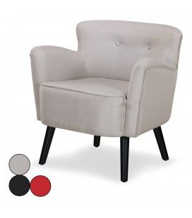 Fauteuil en tissu noir beige ou rouge style scandinave Berny -