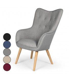 Fauteuil de style danois en tissu et pieds chene clair - 5 coloris