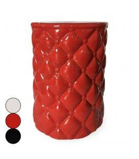 Pouf effet capitonné en céramique noir blanc ou rouge