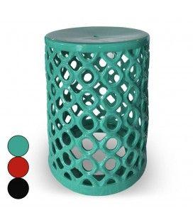 Pouf nid d'abeilles en céramique vert noir ou rouge