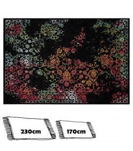 Tapis noir style oriental avec motifs colorés fleurs