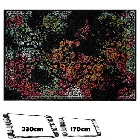 Tapis noir style oriental avec motifs colorés fleurs -
