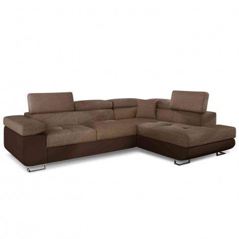 Canapé d'angle avec têtières en tissu et simili cuir marron -
