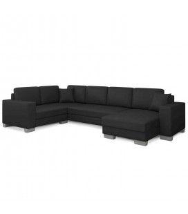 Canapé d'angle simili noir larges accoudoirs Hector