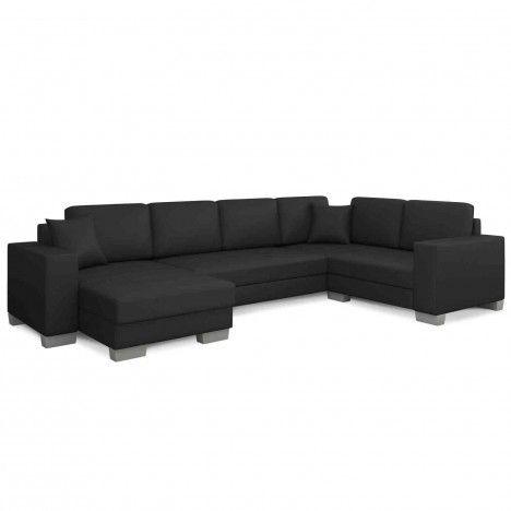 Canapé d'angle simili noir larges accoudoirs Hector -