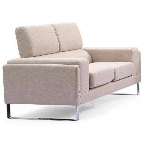 Canapé moderne 2 places en tissu avec pieds métal Bistan -