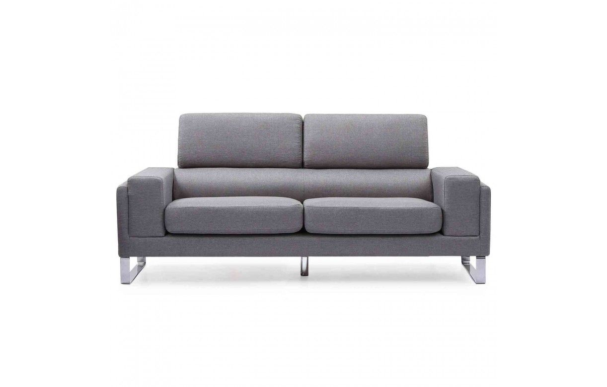 canapé moderne 3 places en tissu avec pieds métal bistan