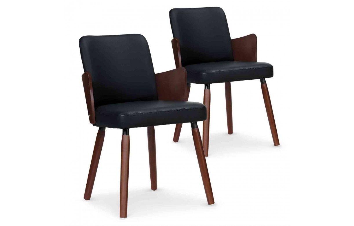 Lot de 2 chaises style scandinave bois et simili cuir for Chaise salle a manger bois et cuir