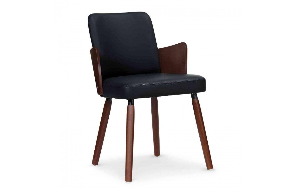lot de 2 chaises style scandinave bois et simili cuir. Black Bedroom Furniture Sets. Home Design Ideas
