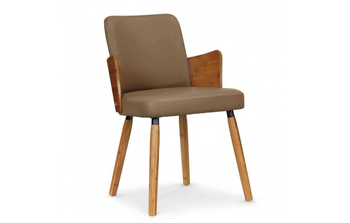 Lot de 2 chaises style scandinave bois et simili cuir for Chaise cuir et bois