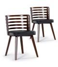 Chaise scandinave en bois et simili cuir Karty - Lot de 2 -