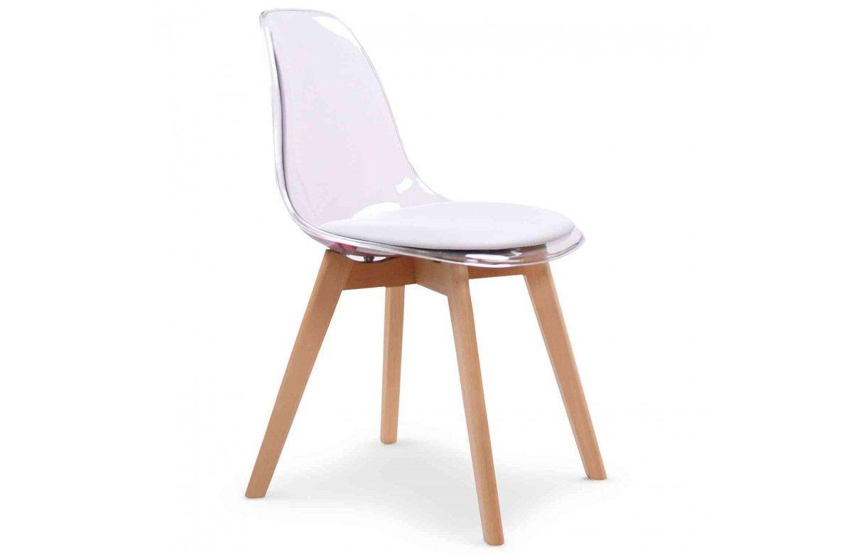 Chaise scandinave en bois et assise plexiglas lot de 2 for Assise de chaise en bois