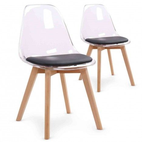 Chaise scandinave en bois et assise plexiglas - Lot de 2 -