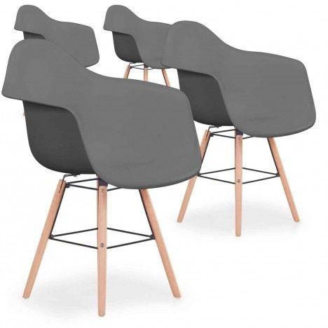 Lot de 4 chaises scandinaves Ralf Gris -